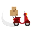 scooter delivering boxes icon vector image