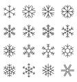 Thin line simple snowflake icons vector image