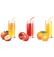tomato orange apple juice vector image vector image