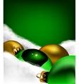 Xmas greeting card Christmas gold and green toys vector image