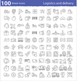 One hundred linear icons for transportation vector image vector image