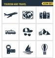 Icons set premium quality of tourism travel vector image