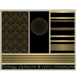 Black vintage abstract gold card vector image