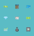 flat icons teller machine cash stack money and vector image