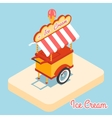 Ice cream cart 3d flat icon vector image