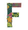 letter f zentangle decorative object vector image
