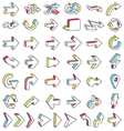 Line 3D Arrows Icon Set vector image
