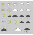 monochrome icon set with weather sun rain snow vector image