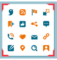 Social icons In a frame series vector image vector image