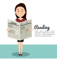 woman reading newspaper icon vector image