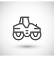 Road roller line icon vector image