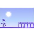 Silhouette of pier and palm scenery vector image