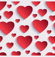 Valentine seamless background with 3d hearts vector image