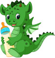 Cute cartoon dragon vector image
