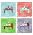 flat icon design collection molecules on table vector image