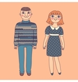 Drawn man and woman Young couple vector image