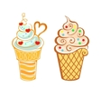 Ice cream in cartoon style vector image