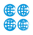 Set of hand-painted earth globe icons isolated on vector image