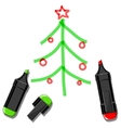 Christmas tree and markers vector image