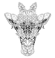 Giraffe head doodle on white background vector image