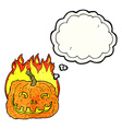 cartoon burning pumpkin with thought bubble vector image