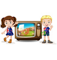 Australian girl and boy waving vector image