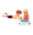 Boy and girl drawing car flowers with crayons on vector image