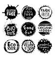 Organic Bio Food Black And White Label Set vector image