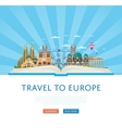 Travel to Europe poster with famous attractions vector image