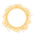 christmas wreath with golden snow flakes frame for vector image