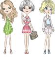 Set cute Beautiful fashion girl in short dress vector image vector image