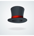 Black top hat and red ribbon isolated vector image vector image