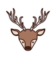 front face christmas reindeer with shadow vector image