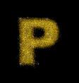 gold dust font type letter p vector image