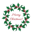 Hand drawn Holly wreath vector image