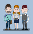 people with hairstyle and casual clothes vector image