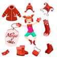 winter sale label with happy kid vector image