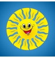 Yellow smiling sun on summer background vector image