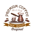 Premium hot and tasty coffee emblem vector image vector image