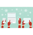 Santa hands holding smart devices vector image
