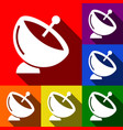 satellite dish sign set of icons with vector image