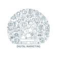 digital marketing thin line concept vector image vector image