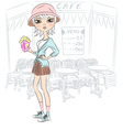 Beautiful fashion hipster girl with popcorn vector image