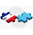 France and Fiji Flags in puzzle vector image