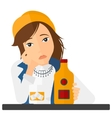 Sad woman with bottle and glass vector image