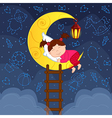 baby girl sleeping on moon among stars vector image