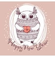 Hand drawn with cute eagle owl Happy New Year card vector image