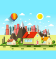 Houses and abstract city cartoon vector image