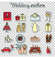 wedding stickers marriage engagement honeymoon vector image