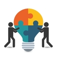 pictogram puzzle bulb teamwork support design vector image